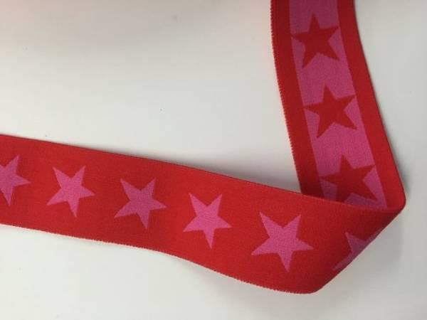 Bilde av Rød m/ceriserosa stjerner - 4 cm bred