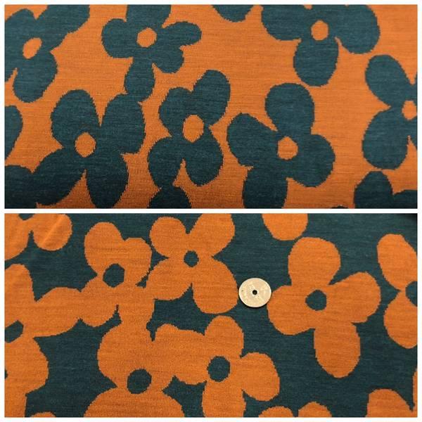 Bilde av Store Blomster, Vintage Orange/Petrol -