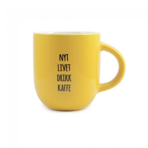 Bilde av Kopp - Nyt Livet Drikk Kaffe, Solgul