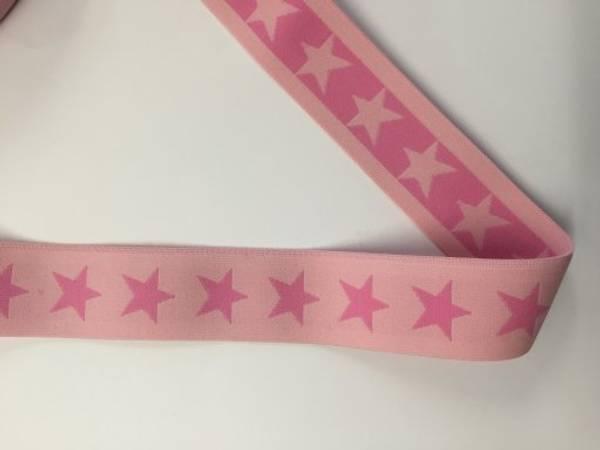 Bilde av Lys rosa m/rosa stjerner - 4 cm bred