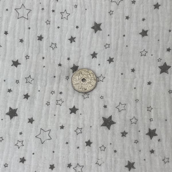 Bilde av Cream med grå stjerner - Double Gauze