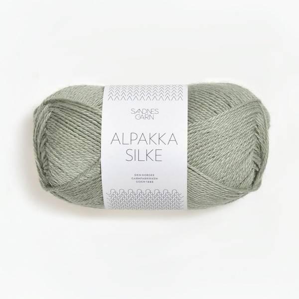 Bilde av Alpakka Silke  - 8521 Støvet Lys Grønn