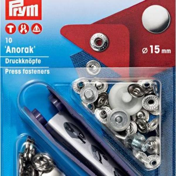 Bilde av Metall trykknapper m/verktøy, Anorakk 15 mm -
