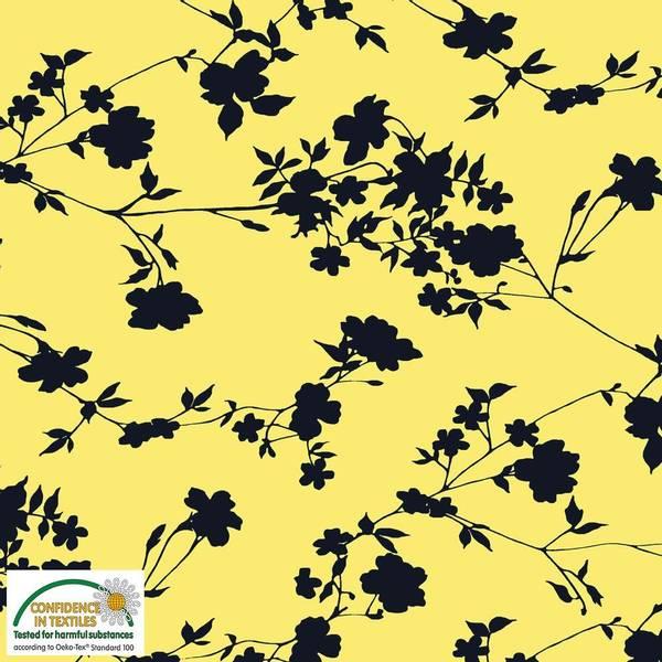 Bilde av Svarte Blomster på Gul bakgrunn - Avalana