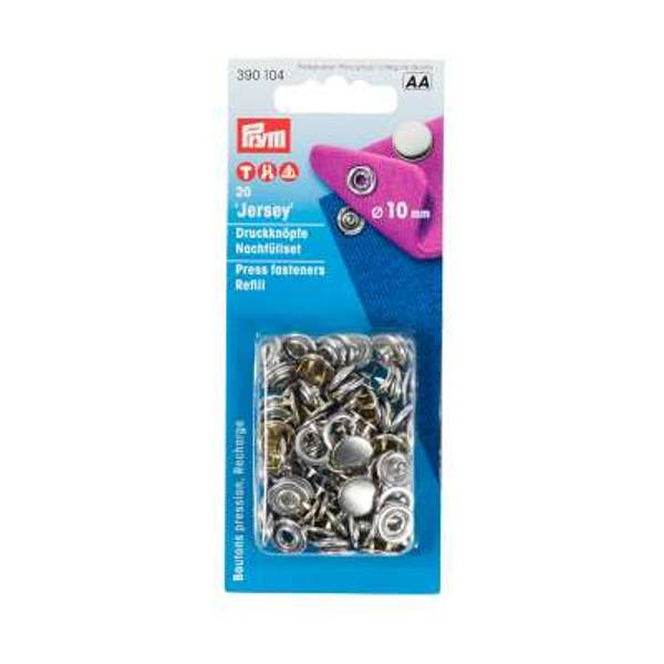 Bilde av Refill metall trykknapper, 10 mm - Heldekket Sølv