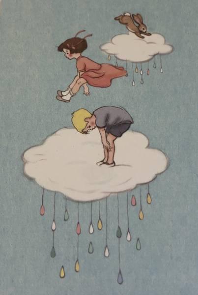 Bilde av Jente og Gutt hopper på sky