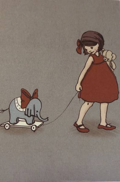 Bilde av Jente i rød kjole som triller elefantleke