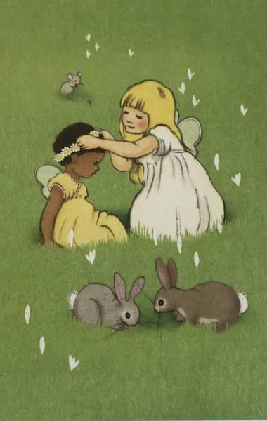 Bilde av Jenter og Kaniner i blomstereng