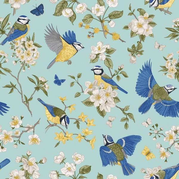 Bilde av Blomster og fugler