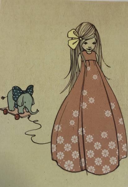 Bilde av Jente i kjole og elefantleke