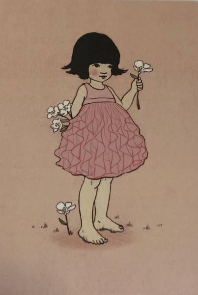 Bilde av Jente med hvite blomster