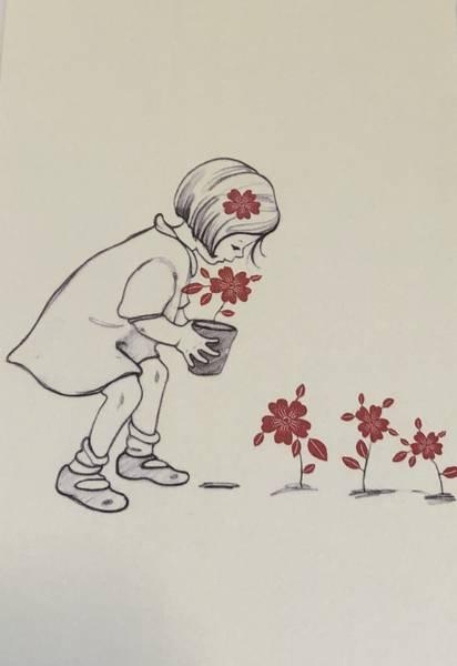 Bilde av Jente og Røde blomster