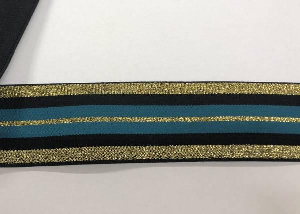 Bilde av Gull m/glitter, svart og grønn stripete - Strikk