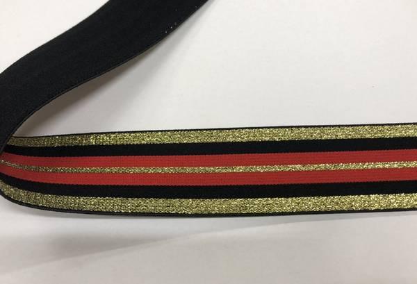 Bilde av Gull m/glitter, svart og rød stripete - Strikk 4