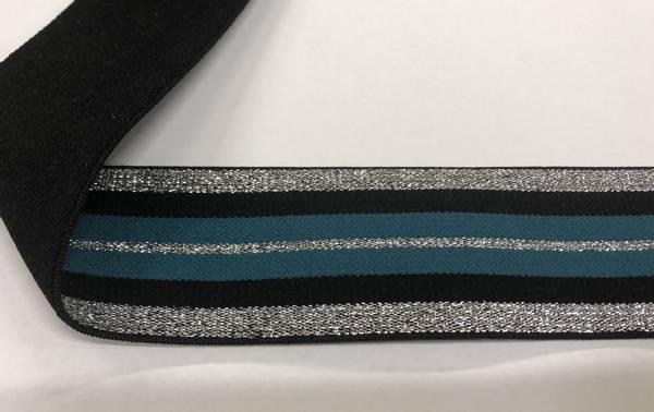 Bilde av Sølv m/glitter, svart og grønn stripete - Strikk