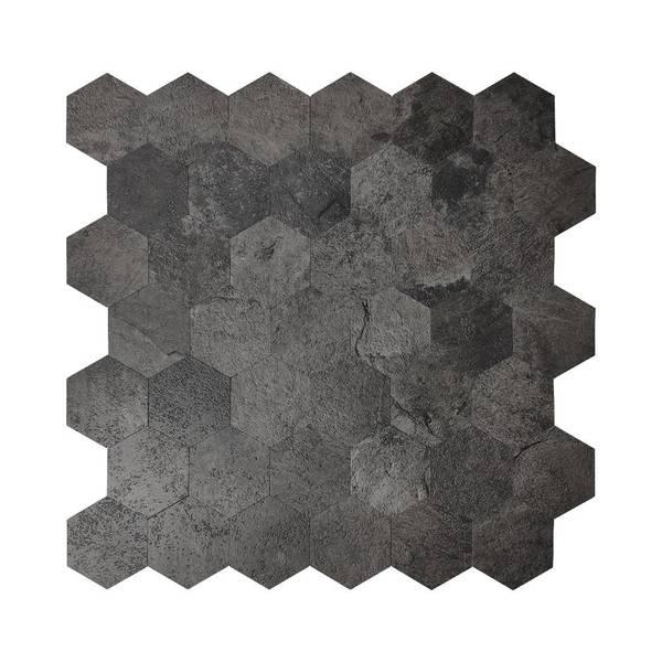 Bilde av Vareprøve: Stein Hexagon sort betong selvklebende veggfliser