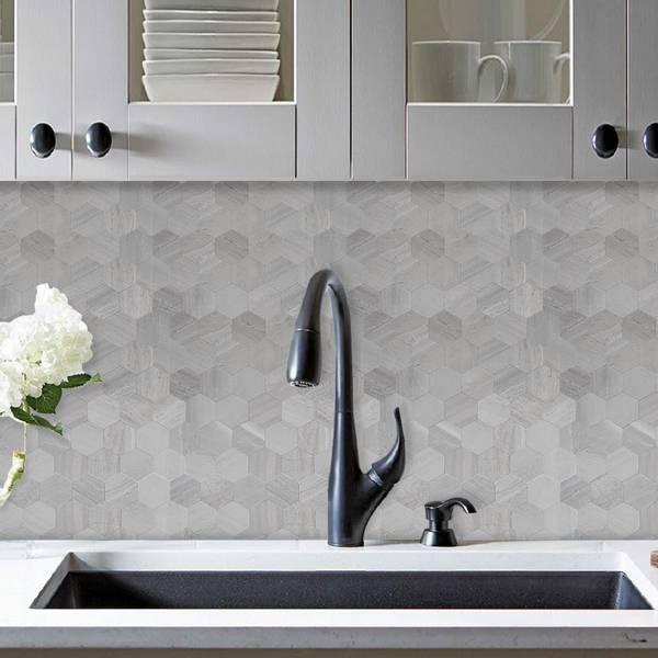 Bilde av Stein Hexagon grå betong selvklebende veggfliser