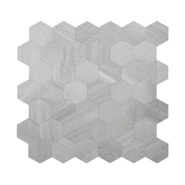 Bilde av Vareprøve: Stein Hexagon grå betong selvklebende veggfliser