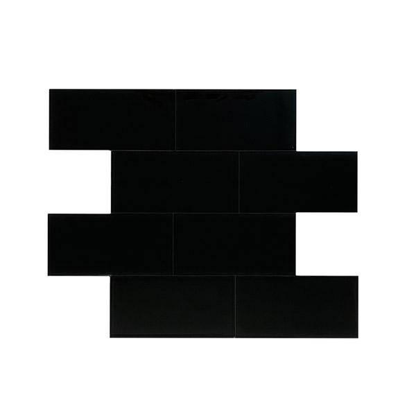 Bilde av Glass subway sort selvklebende veggfliser