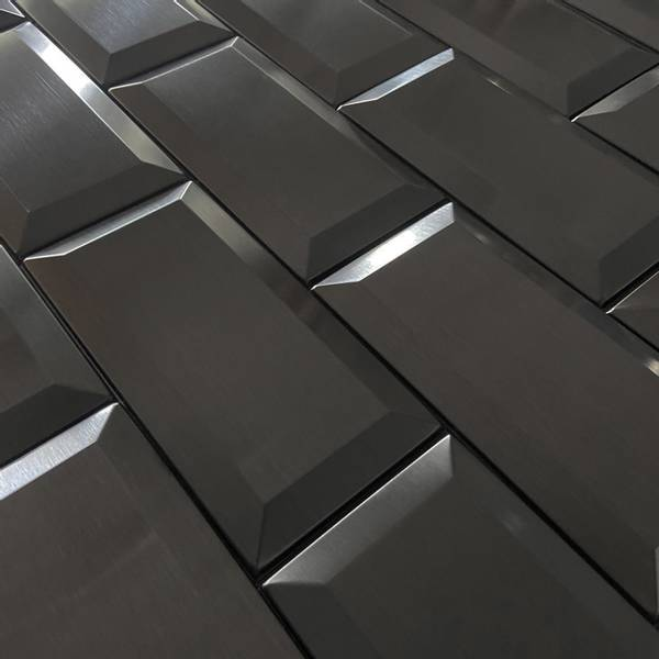 Bilde av Metro mørk grå selvklebende veggfliser