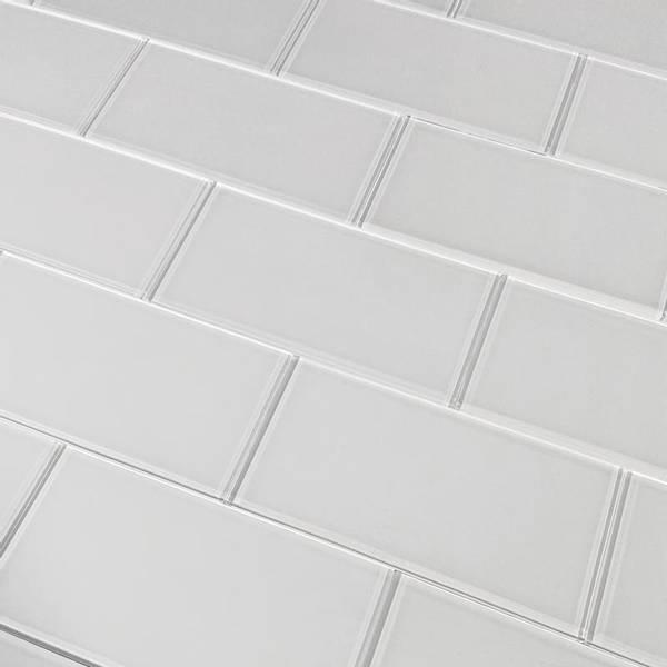 Bilde av Glass subway hvit selvklebende veggfliser