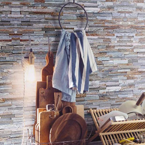 Bilde av Stone wall grå blå tapet