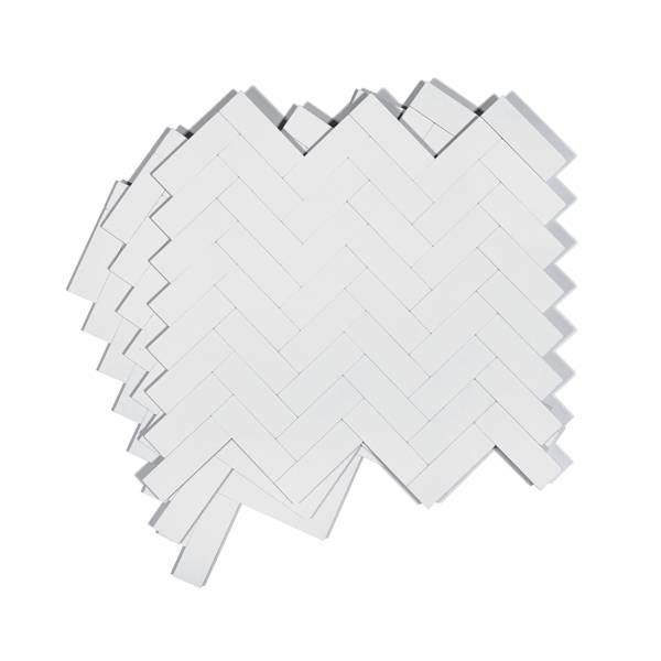 Bilde av Stein fiskebein hvit matt selvklebende veggfliser