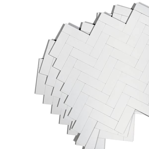 Bilde av Vareprøve: Stein fiskebein hvit matt selvklebende veggfliser