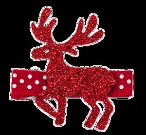 Bilde av Hårklemme, reinsdyr rødt glitter