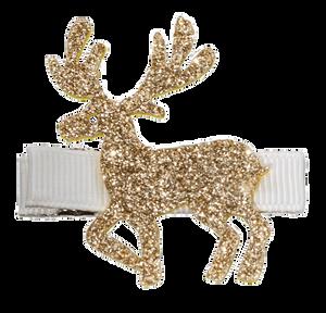 Bilde av Hårklemme, reinsdyr gull glitter