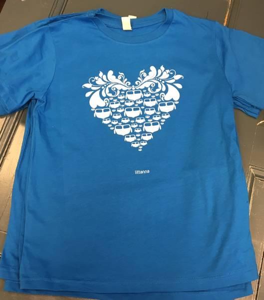 LITTANNA T-skjorte barn, Båthjerte, blå