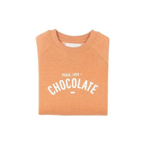 Peace Love + Chocolate Unisex Sweatshirt - Cocoa