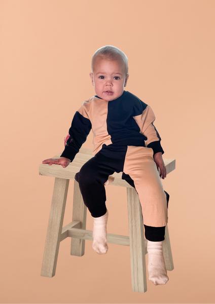 Bilde av Kids Colorblock Unisex Sweatpants - Beige & Black