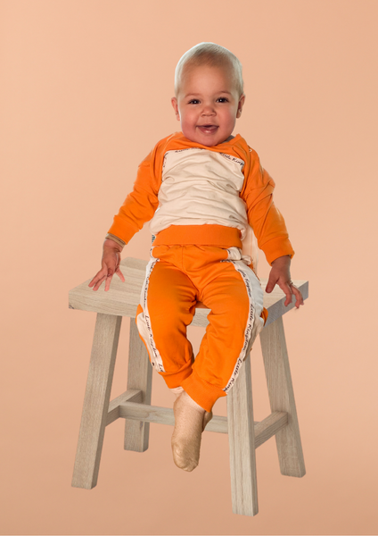 Bilde av Kids Colorblock Unisex Sweatpants- Orange