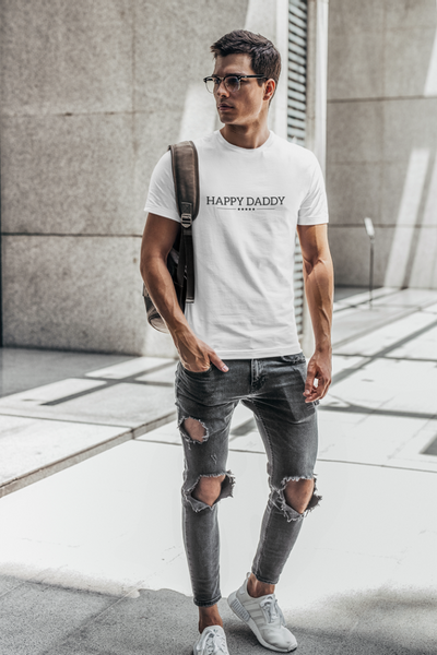 Happy Daddy Organic Fitted Tee - White
