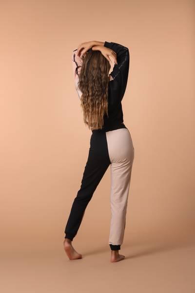Bilde av Womens Colorblock Sweatpants - Beige Black