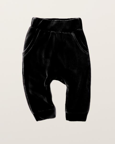 Bilde av Kids Organic Cotton Velour Sweatpants - Black