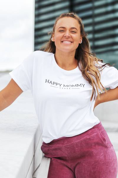 Bilde av Happy Mommy Organic Oversized Tee - White