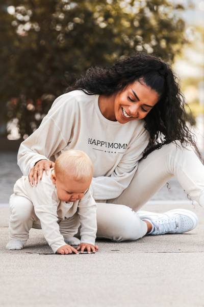 Happy Mommy Organic Cotton Velour Sweatshirt - Light Beige
