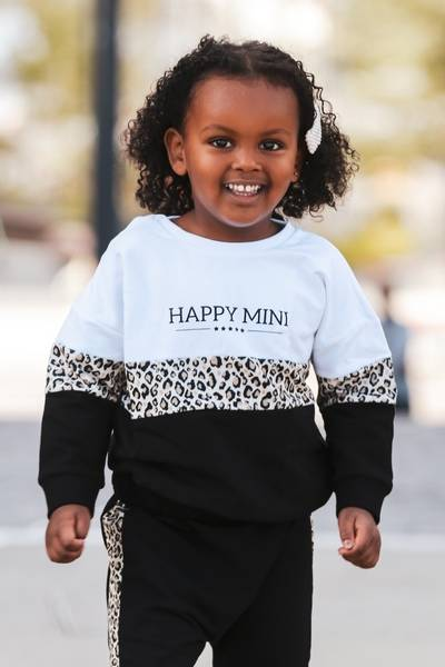 Bilde av Happy Mini Colorblock Unisex Sweatshirt - White