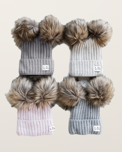 Bilde av Kids & Adults Double Pom Pom Beanie - All