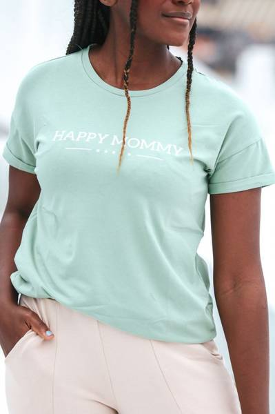 Bilde av Happy Mommy Organic Oversized Tee - Smoke Mint