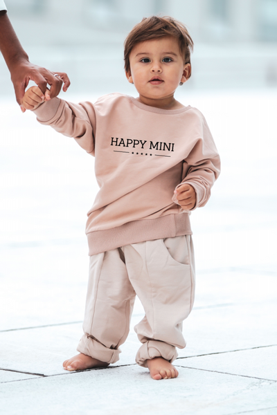Happy Mini Unisex Sweatshirt - Taupe