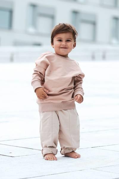 Kids Plain Unisex Sweatshirt - Taupe