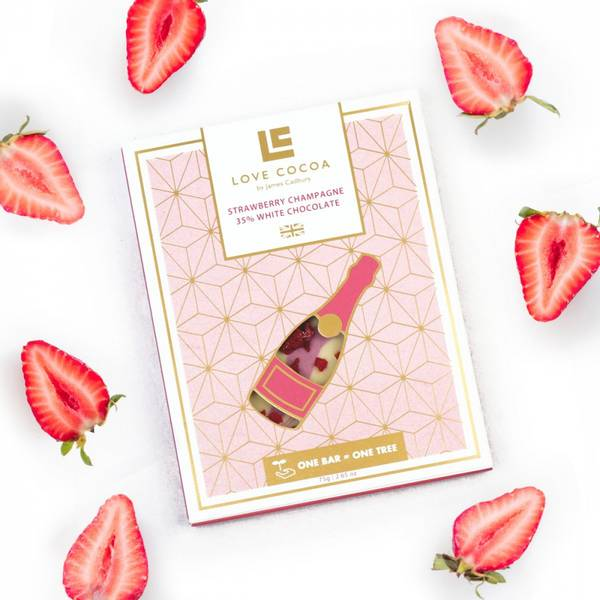 Bilde av LOVE COCOA Strawberry Champagne 35% White Chocolate