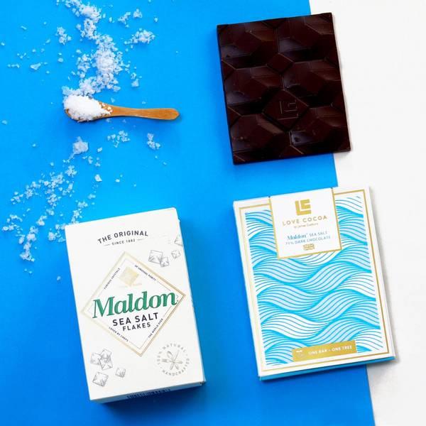 Bilde av LOVE COCOA Maldon sea salt 70% Dark Chocolate