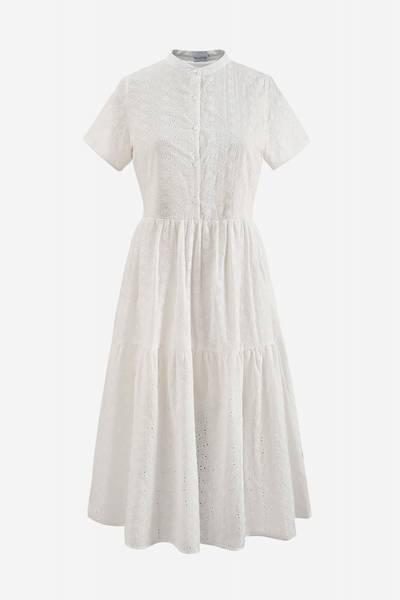 Bilde av NOELLA LIPE DRESS SHORT SLEEVE COTTON BRODERIE WHITE