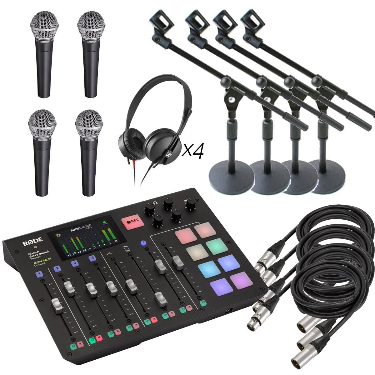 Podkast-pakke med fire mikrofoner