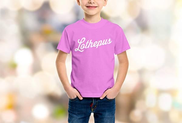 Rosa barneskjorte kvitt trykk