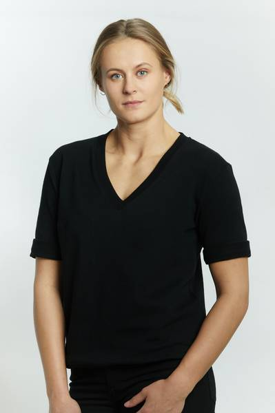 ANITA SWEAT TOP V HALS BLACK